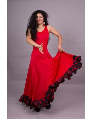Trajes de flamenca rojo con volantes negros Yoremy Anita