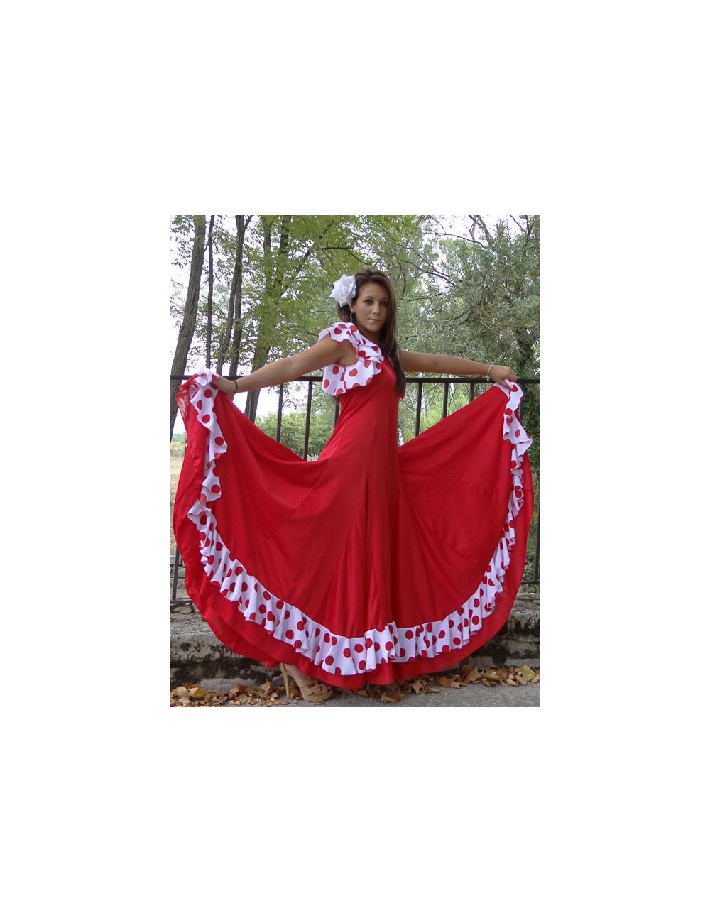 Vestido de flamenco blanco/rojo Anita Volente