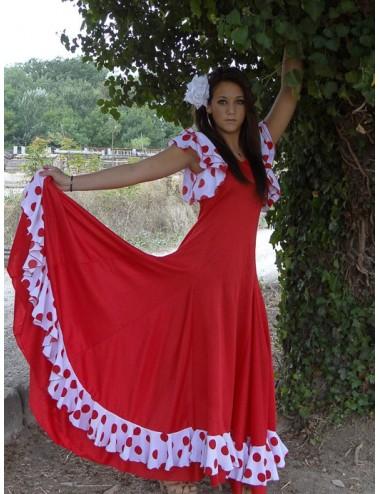 Robe espagnole rouge et blanche Yoremy Anita