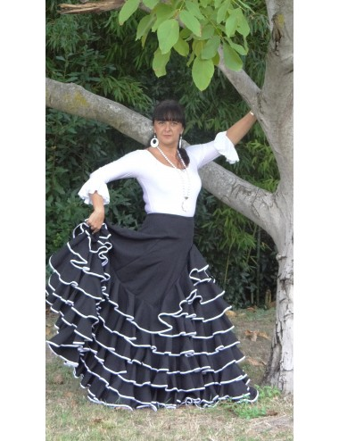 Jupe de flamenco noire Selina