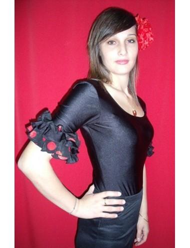 Body de flamenco noire à pois rouges enfant