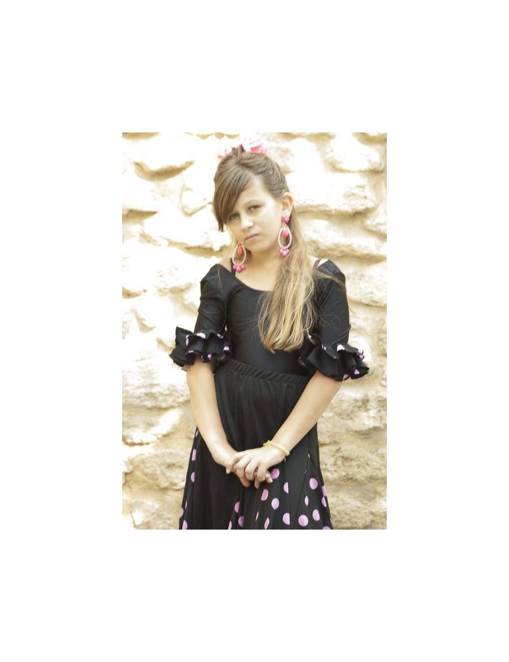 Body de flamenco fille noir à pois rose