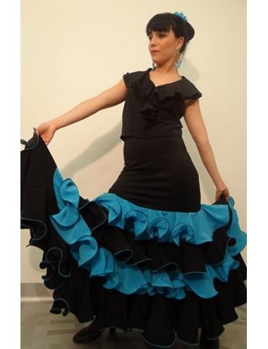 Jupe de flamenco bleue Turquessa