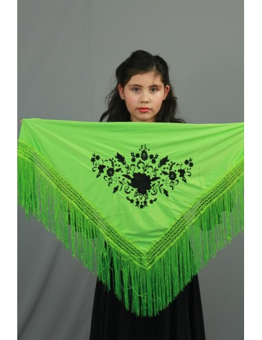 Petit châle vert anis brodé noir
