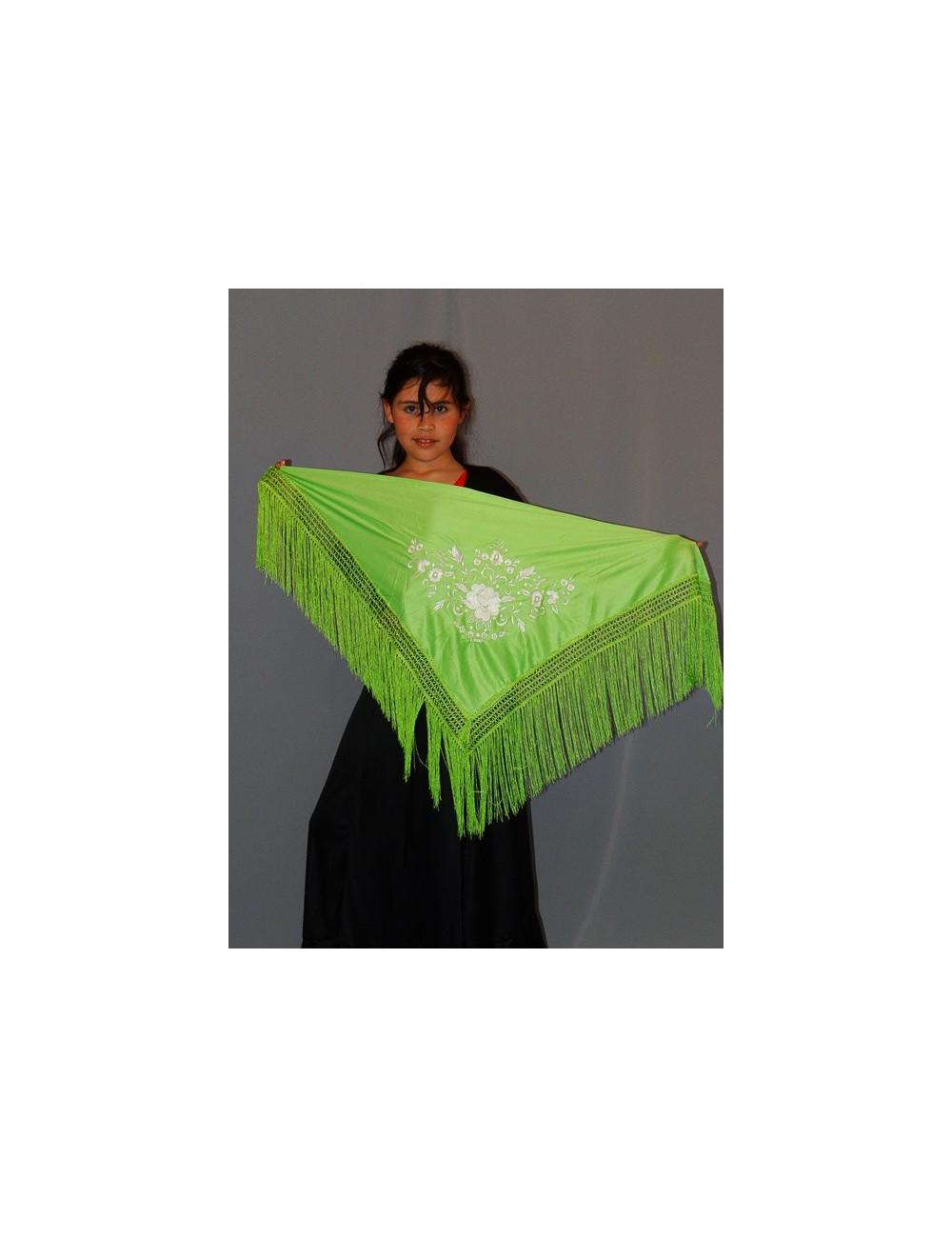 Châle flamenco vert anis brodé blanc
