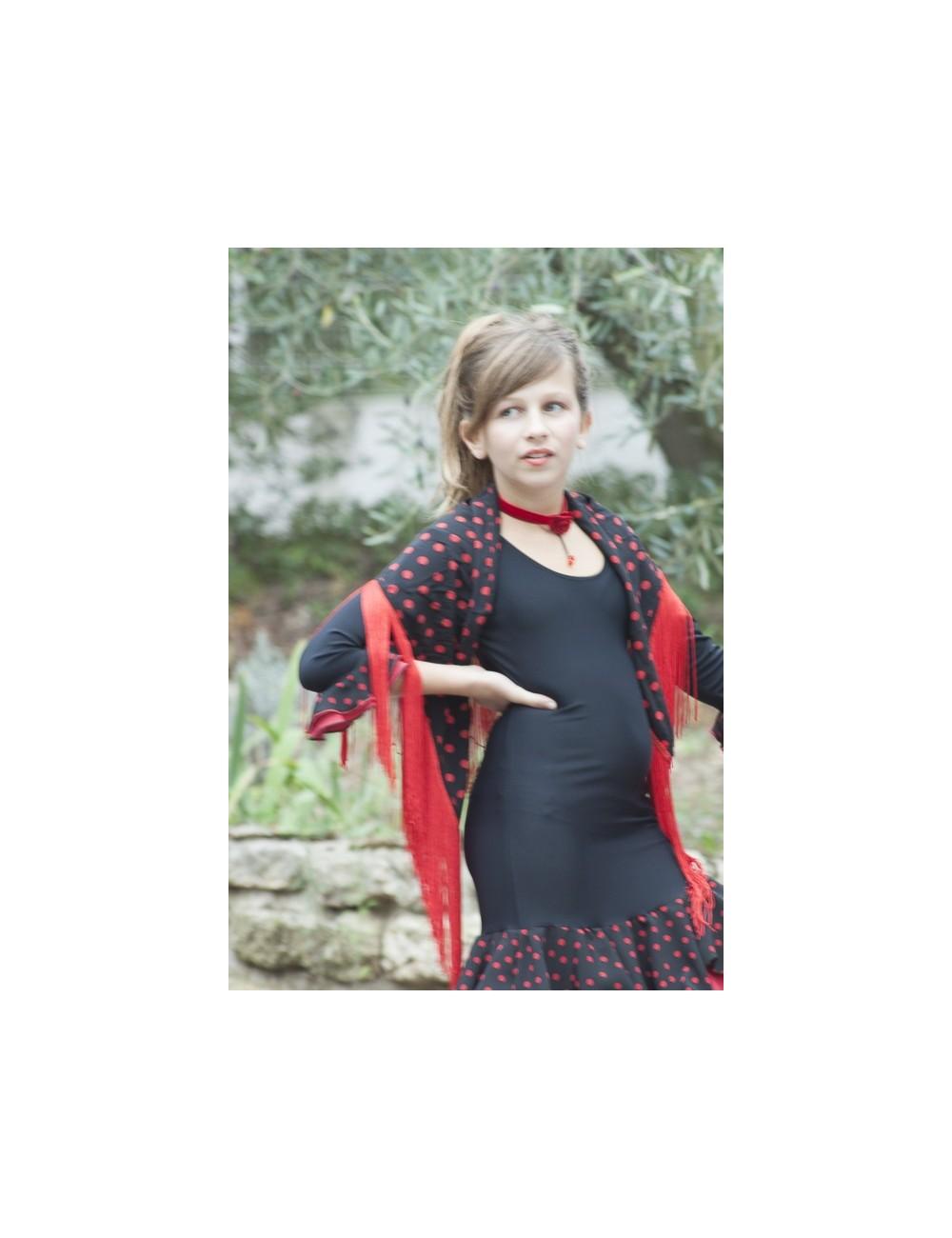 Panuelos flamenco noir à pois rouge