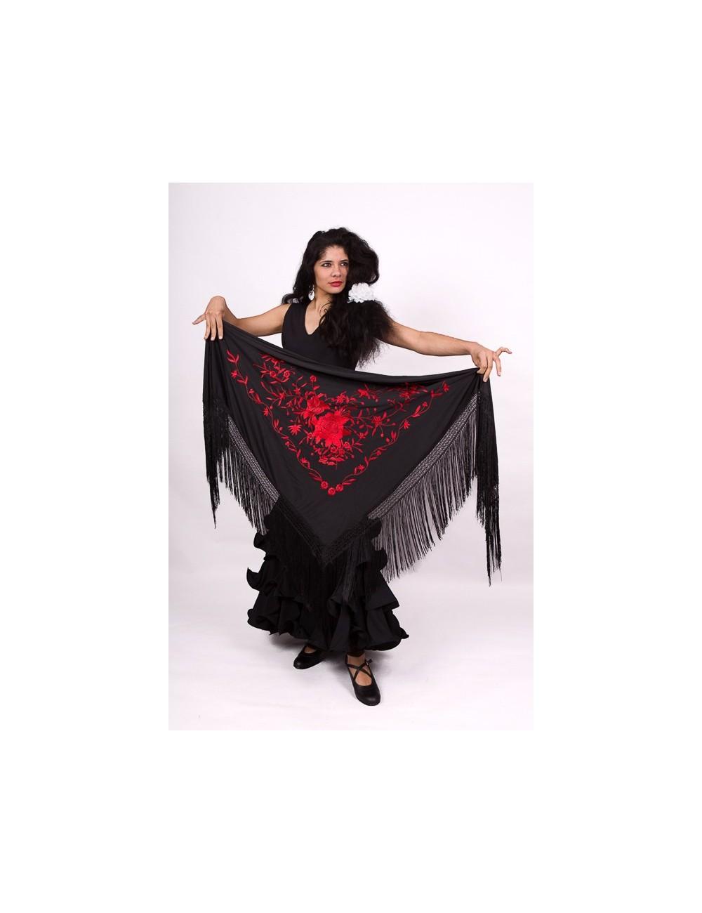 Châle flamenco noir brodé rouge