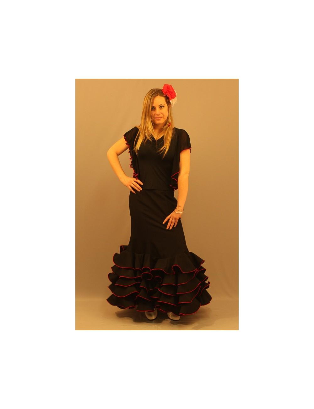 Jupe flamenco Cordou Negra 3 Volants