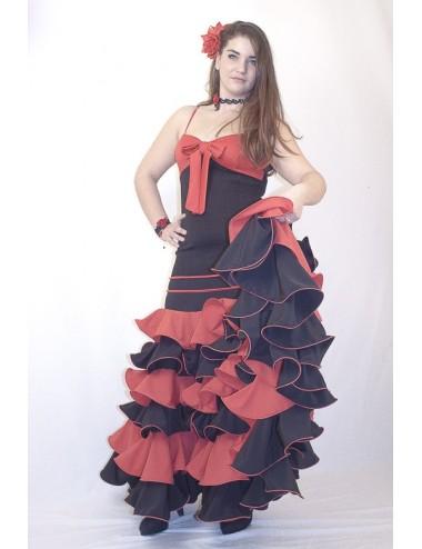 Vestido de flamenco negro y rojo