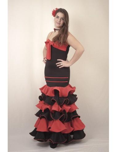 Vestido de flamenco negro y rojo Andalousie