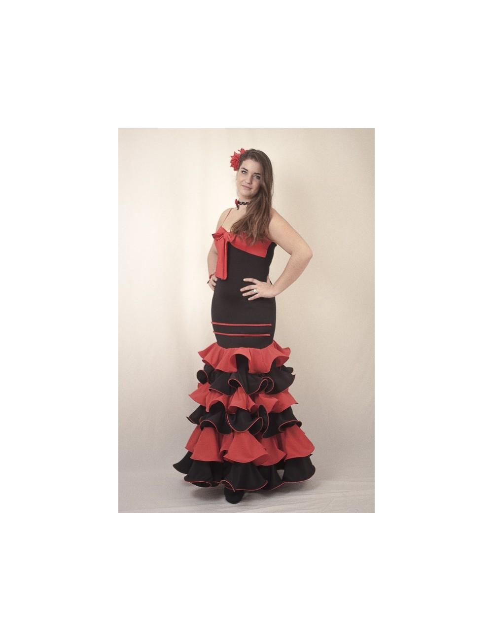 Robe Flamenco noire et rouge Andalousie