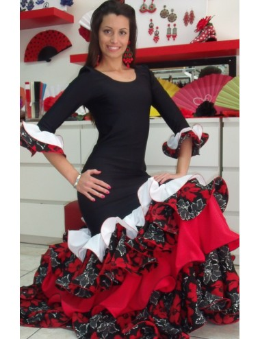 Trajes de flamenca rojo y negro Duna