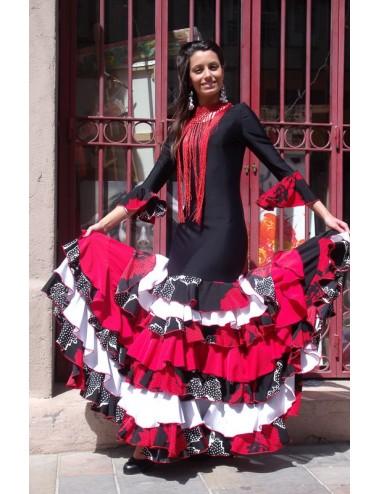 vestido de flamenco rojo, blanco y negro Melinda 1