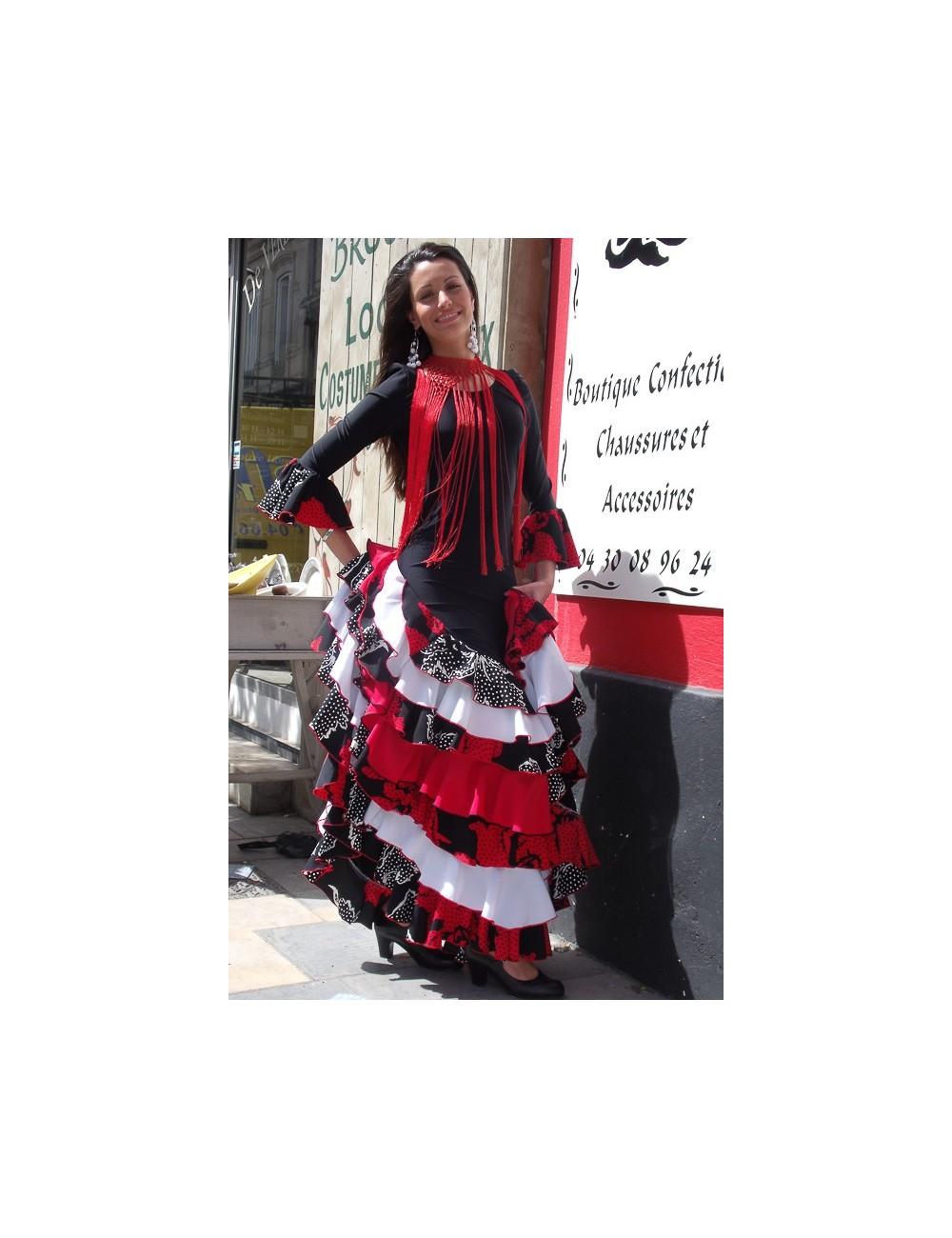 Robe Sévillane rouge et noire Melinda 1