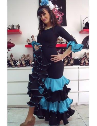 Vestido de flamenca azul y negro Luna