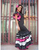 Robe Flamenco noir pois blancs Seville