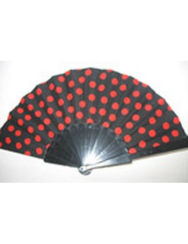 Eventails noir pois rouge