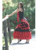 Robe Flamenco rouge pois noirs Toréra 3