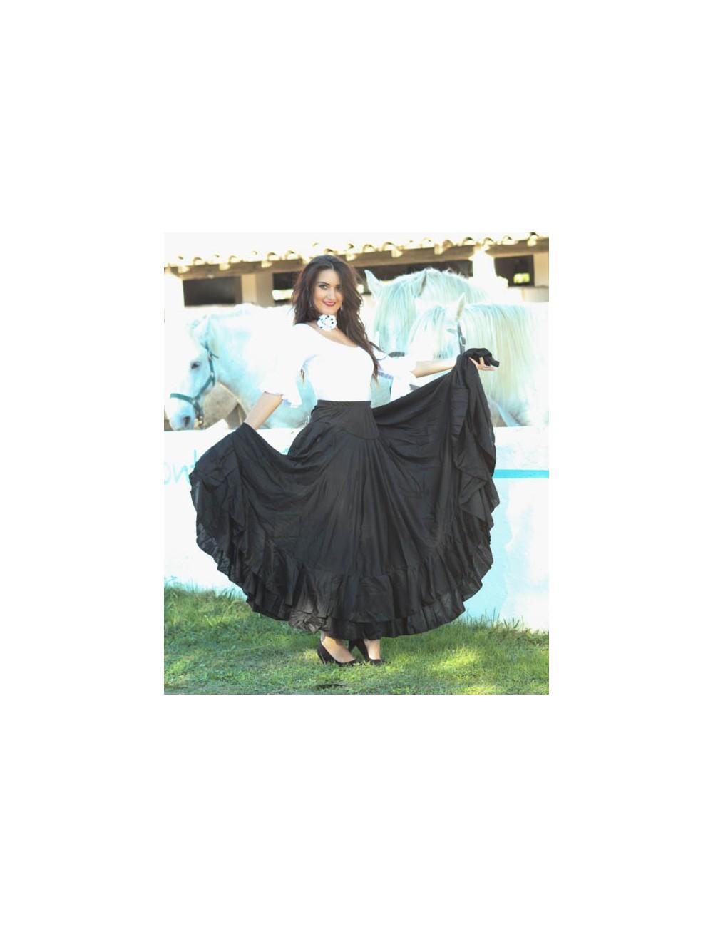 Kit tenue de danse flamenco jupe & haut negra