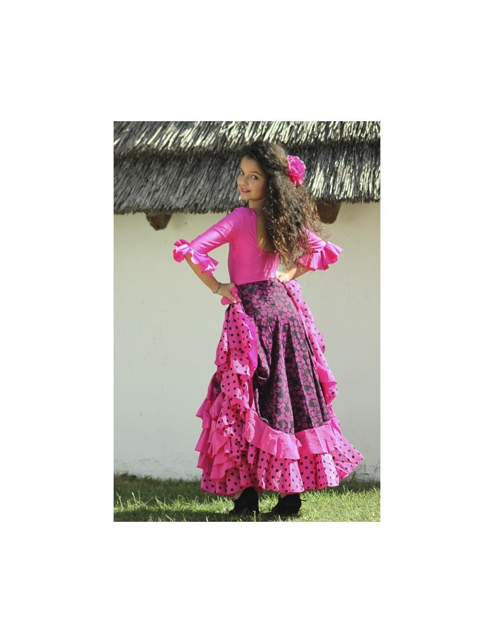 Jupe flamenco Madrilène fushia