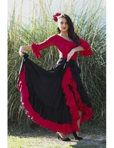 Falda flamenca rojo y negro Becky