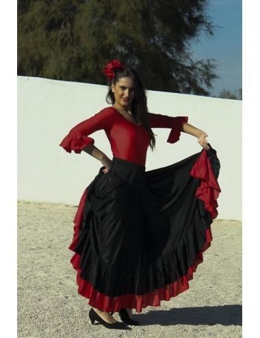 Jupe entrainement flamenco noire et rouge Becky