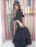 Robe de soirée flamenco noire KELLY
