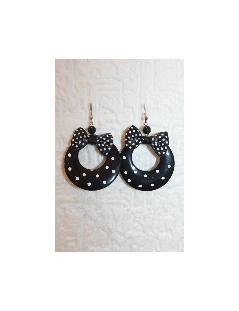 Boucles d'oreilles flamenco noire à pois