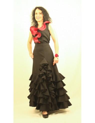 Jupe flamenco Tcha tcha Noire
