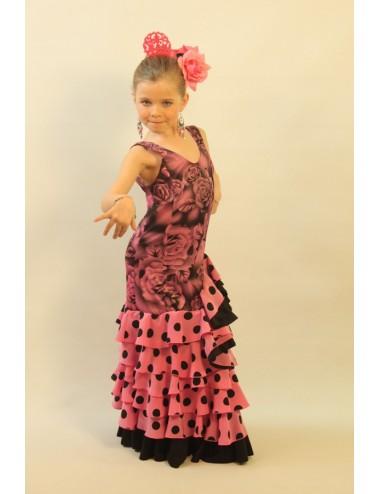 Robe de flamenco rose fille Shiva