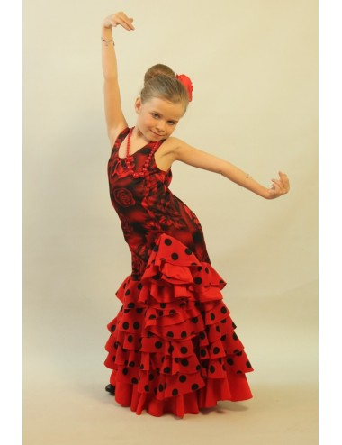 Robe de flamenco rouge enfant Shiva