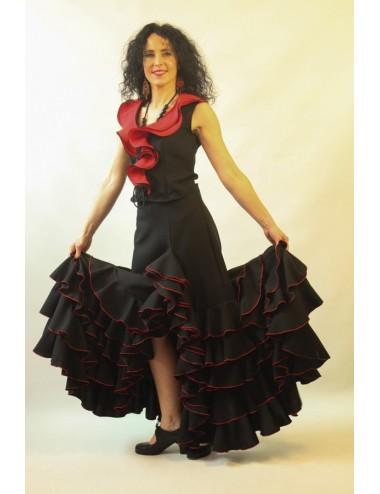 falda flamenca Tcha tcha Negro