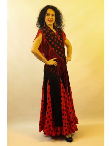 Panuelos flamenco noir pois rouges