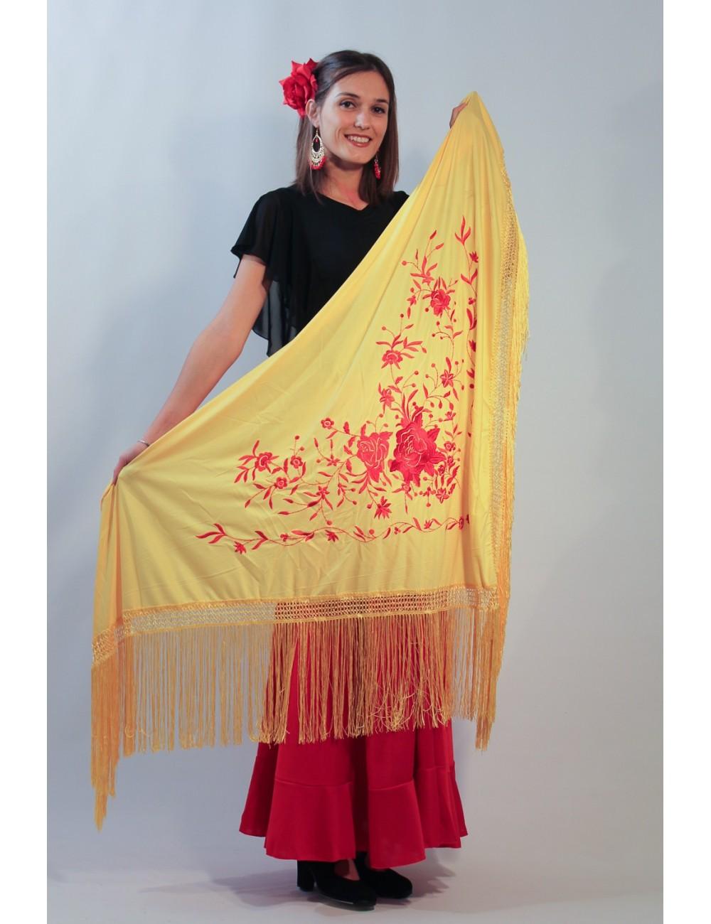 Châle de flamenco jaune brodé rouge