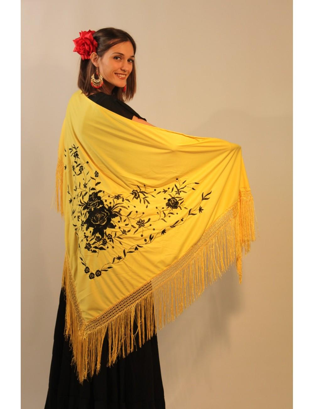 "Châle ""espagnol"" jaune brodé noir"
