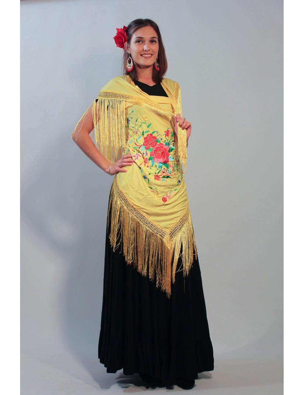 Grand châle flamenco jaune brodé multicolor