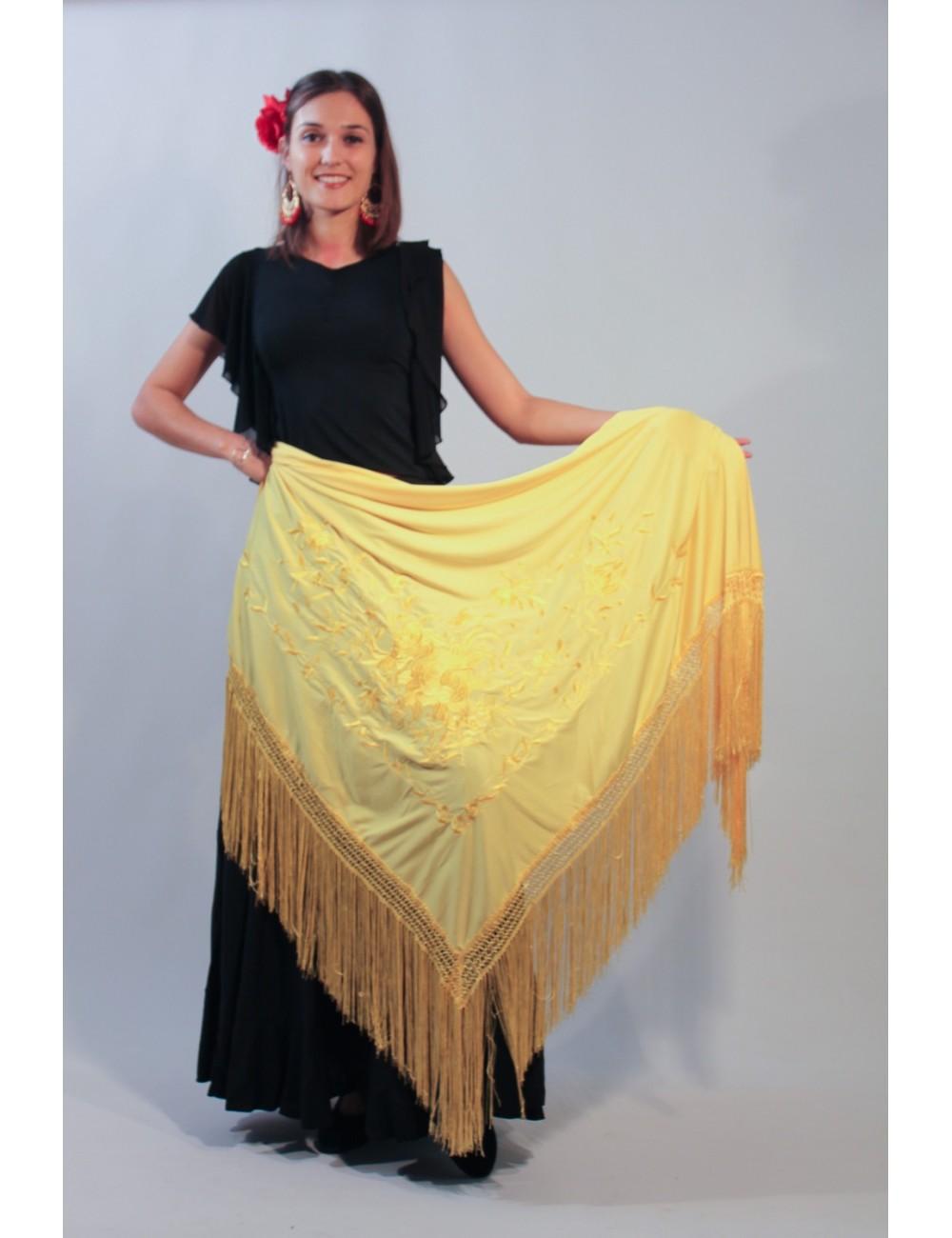 Châle de flamenco jaune brodé Jaune