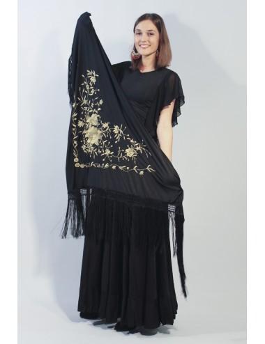 Châle flamenco noir brodé or