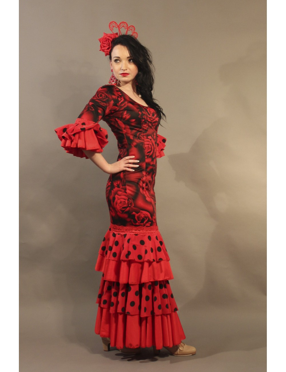 Robe de Flamenco Rouge Shiva