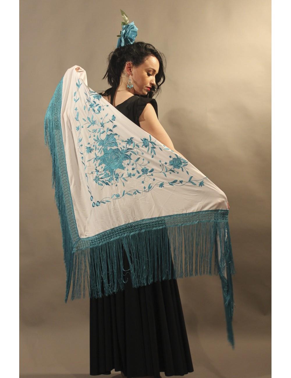 Grand châle andalous blanc brodé turquoise