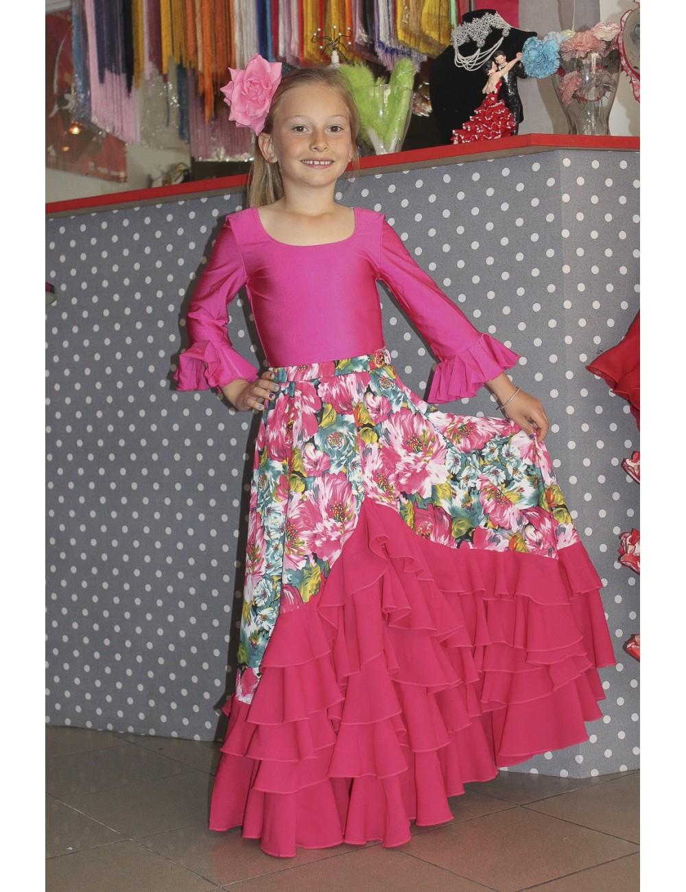 Jupe de flamenco fille Flora fuschia