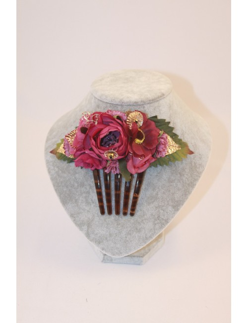 Superbe Peigne fleuris fuchsia