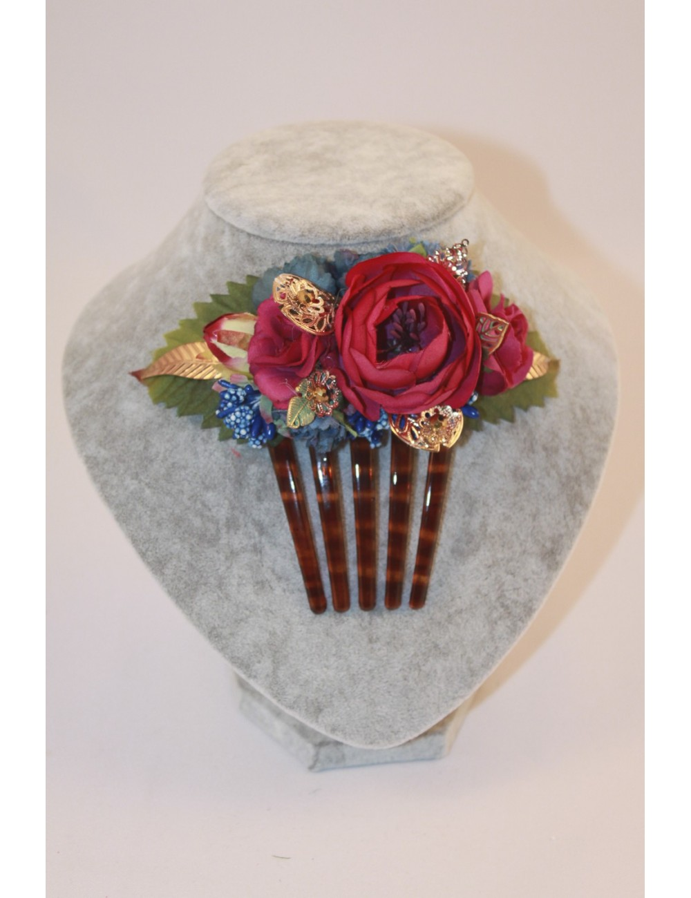 Superbe Peigne fleuris fuchsia/bleu