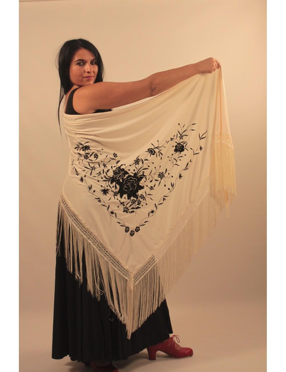 Grand châle flamenco beige brodé noir