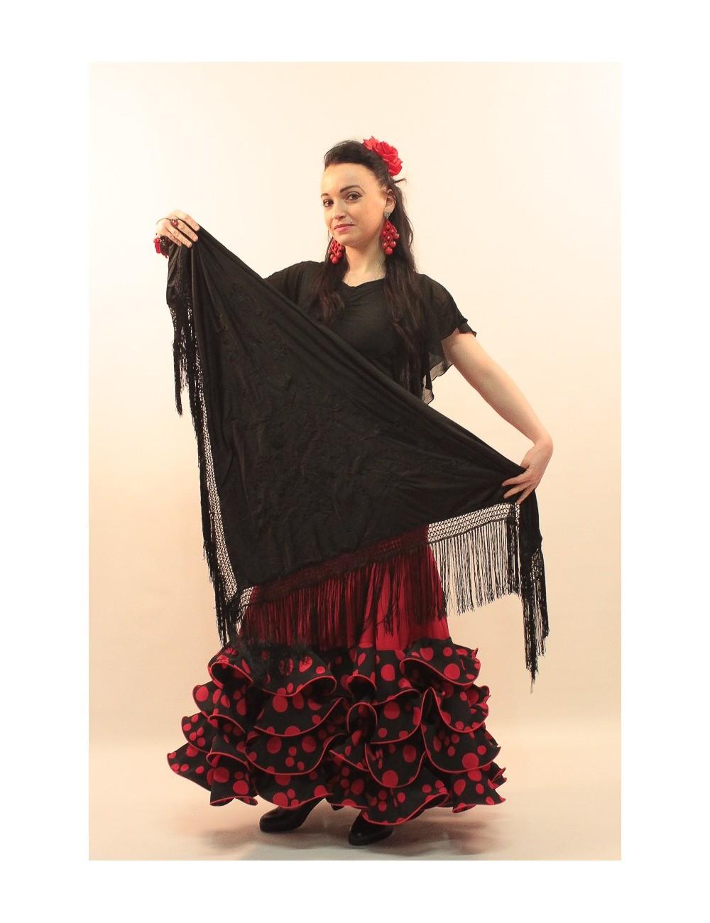 Châle flamenco noir brodé noir