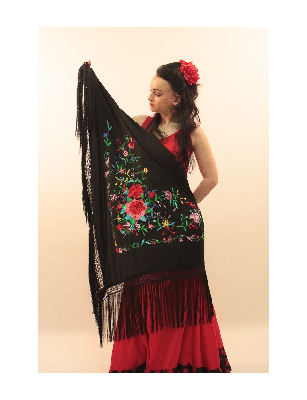 Châle flamenco noir brodé multicolor