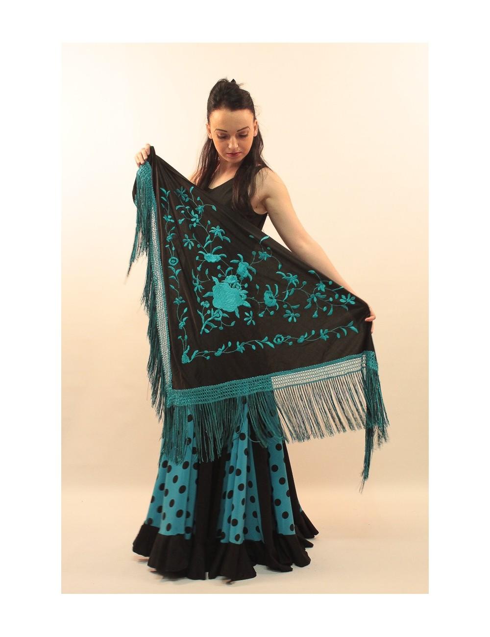 Châle flamenco noir brodé turquoise