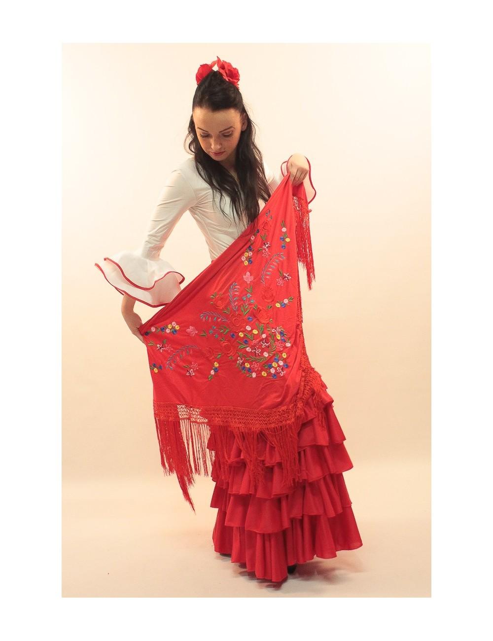Châle flamenco rouge brodé multicolor