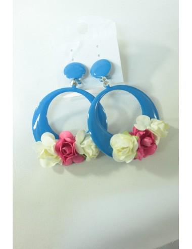 Boucles d'oreilles Créoles fleuries