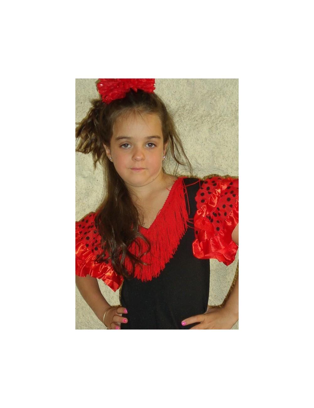 Déguisement robe de flamenco enfant rouge pois Noir